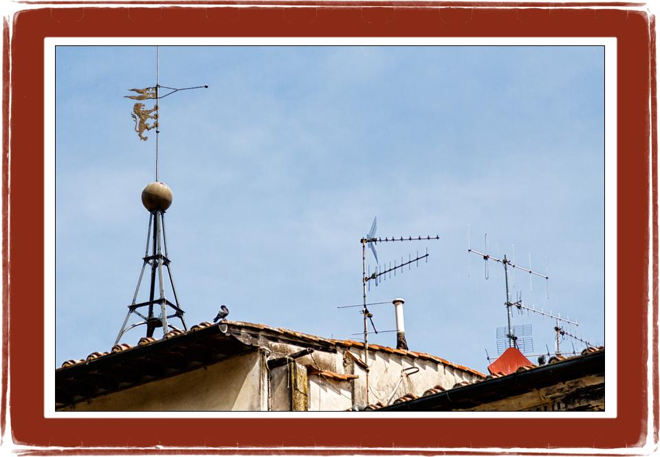 La cima della torre, antenne, padelle e piccioni sopra i tetti di Figline